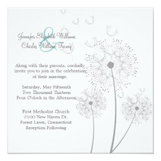 White and Grey Dandelion Wedding Invitation