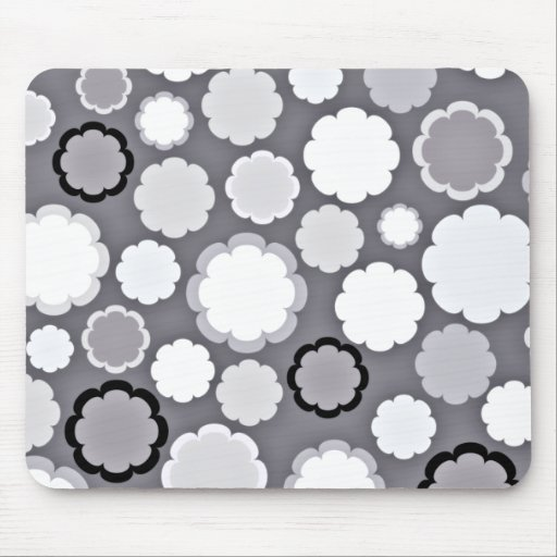 White and Grey floral design Mousepads
