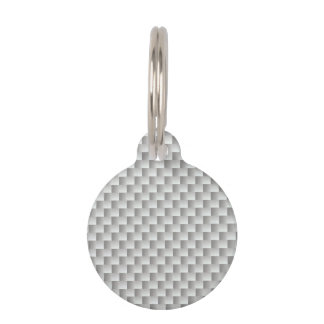 White and Grey Kevlar Carbon Fiber Pet ID Tags