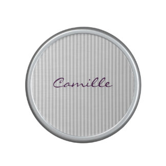 white and grey stripes personalized by name bluetooth speaker