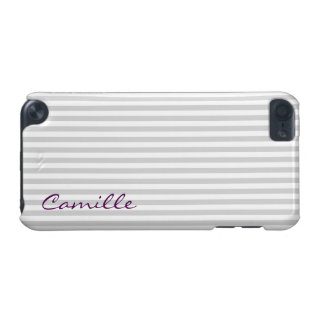 white and grey stripes personalized by name iPod touch (5th generation) cover