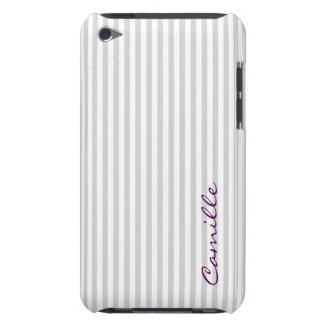 white and grey stripes personalized by name iPod touch cover