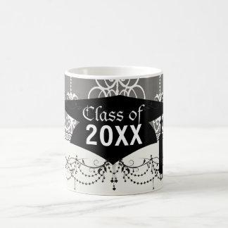 white and grey swirl elegance damask graduation coffee mugs