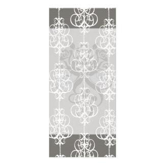 white and grey swirl elegance damask pattern full color rack card