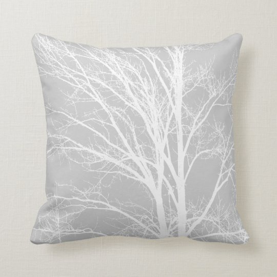 White And Grey Tree Branches Throw Pillow Zazzle Com