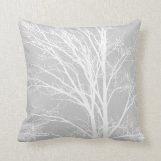 White and Grey Tree Branches Throw Pillow