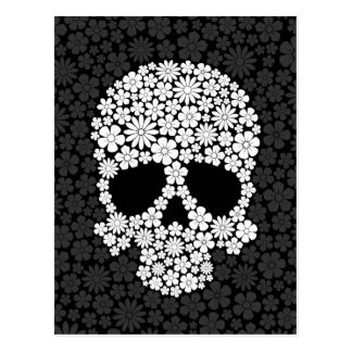 White and Grey Wild Flowers Skull Postcard