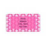 White and Hot Pink Fleur de Lis Pattern Address Label
