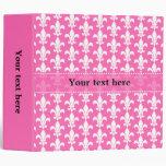 White and Hot Pink Fleur de Lis Pattern 3 Ring Binder