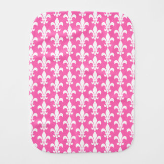 White and Hot Pink Fleur de Lis Pattern Burp Cloth
