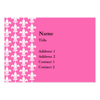 White and Hot Pink Fleur de Lis Pattern Business Card Templates