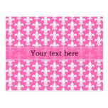 White and Hot Pink Fleur de Lis Pattern Postcards