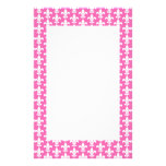 White and Hot Pink Fleur de Lis Pattern Stationery Design
