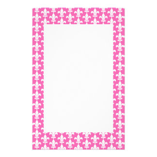 White and Hot Pink Fleur de Lis Pattern Stationery