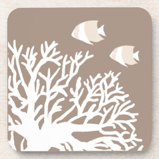 White and Ivory Beige Tropical Angelfish Beverage Coaster