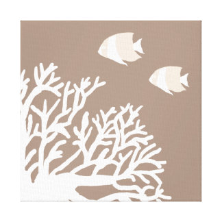White and Ivory Beige Tropical Angelfish Canvas Print