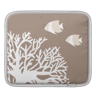 White and Ivory Beige Tropical Angelfish iPad Sleeve