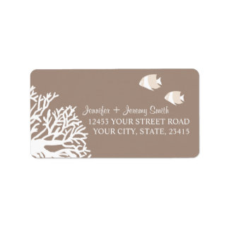 White and Ivory Beige Tropical Angelfish Personalized Address Labels