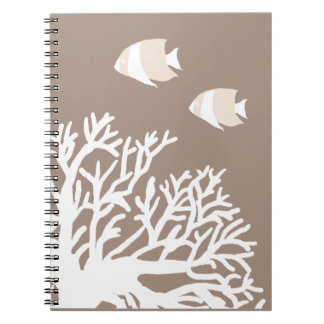 White and Ivory Beige Tropical Angelfish Notebook