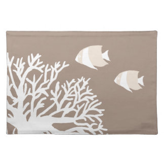 White and Ivory Beige Tropical Angelfish Cloth Placemat
