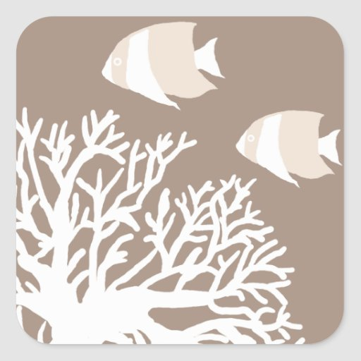 White and Ivory Beige Tropical Angelfish Stickers