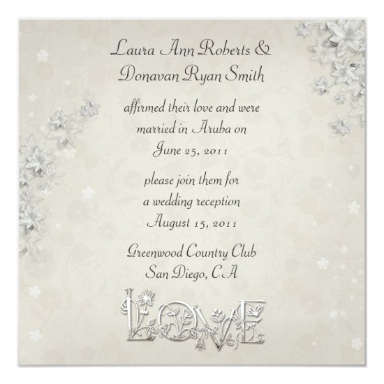 White and Ivory Floral Love Post Wedding Invitation