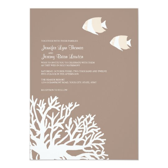 Coral And White Wedding Invitations: White And Ivory Tropical Coral Wedding Invitation