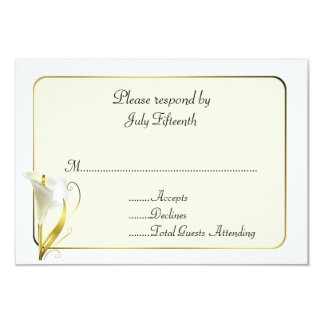 White and Ivory with Calla Lily Wedding RSVP Card