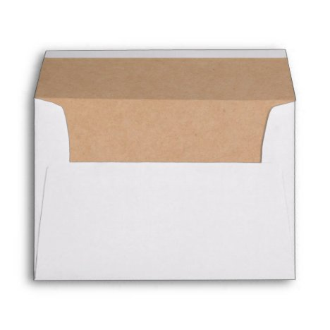 White and Kraft Lined RSVP Minimalist Rustic 5x7 Envelope