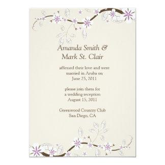 White and Lavender Blossoms on Ecru Post Wedding 5x7 Paper Invitation Card