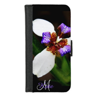 White and Lavender Iris Personalized Wallet Case