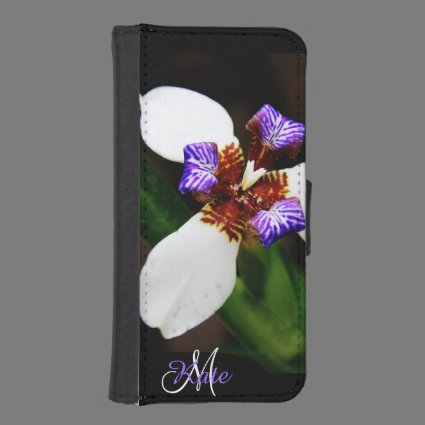 White and Lavender Iris Personalized Wallet Case iPhone 5 Wallets