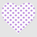 White and Lavender Polka Dots Heart Stickers