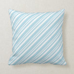 [ Thumbnail: White and Light Blue Colored Lined Pattern Pillow ]
