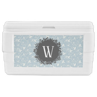 White and Light Blue Floral Pattern with Monogram Chest Cooler
