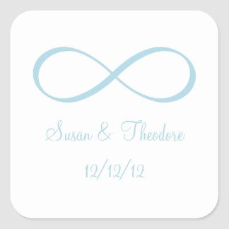 White and Light Blue Infinity Symbol Save the Date Square Sticker