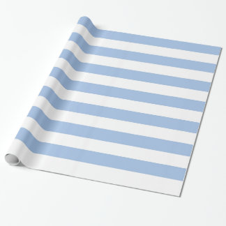 White and Light Blue Striped Wrapping Paper