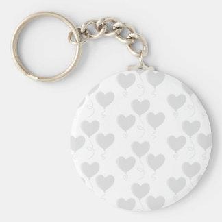 White and Light Gray Heart Balloon Pattern. Basic Round Button Keychain