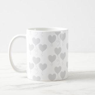 White and Light Gray Heart Balloon Pattern. Coffee Mug