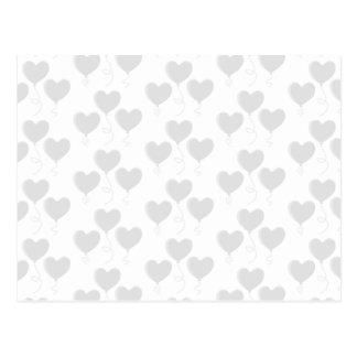 White and Light Gray Heart Balloon Pattern. Postcard