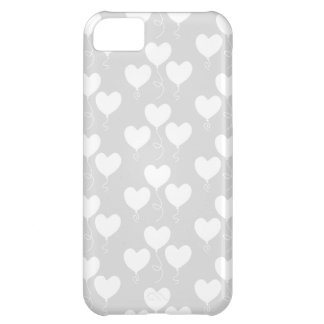 White and Light Gray Pattern of Heart Balloons. iPhone 5C Cover