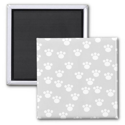 White and Light Gray Paw Print Pattern. 2 Inch Square Magnet