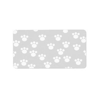White and Light Gray Paw Print Pattern. Address Label
