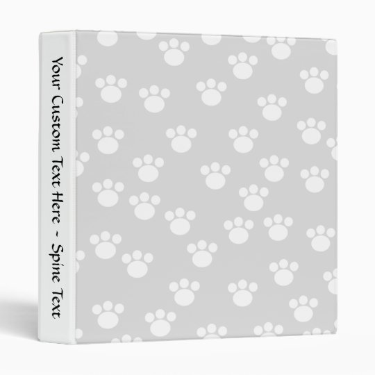 White and Light Gray Paw Print Pattern. Binder