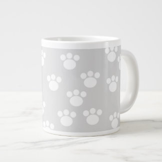 White and Light Gray Paw Print Pattern. Giant Coffee Mug