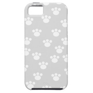 White and Light Gray Paw Print Pattern. iPhone SE/5/5s Case