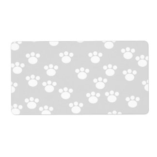 White and Light Gray Paw Print Pattern. Label