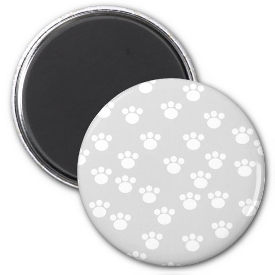 White and Light Gray Paw Print Pattern. Magnet