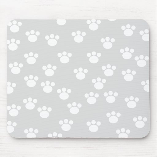White and Light Gray Paw Print Pattern. Mouse Pad