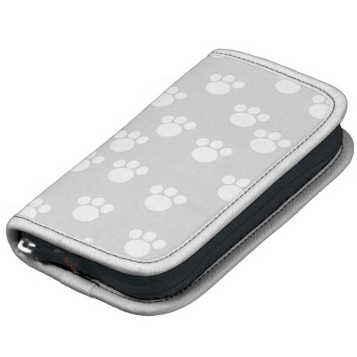 White and Light Gray Paw Print Pattern. Planner